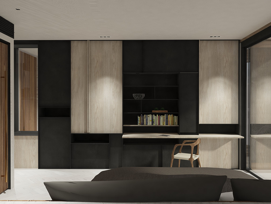 A Wall Of Built In Storage Compartments Conveniently Tuck Away A Small  Kitchenette, An Extendable Working Surface And Storage Area.